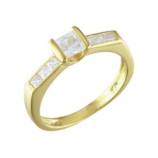 Rye, inel placat cu aur de 18 k, cu pietre zirconia