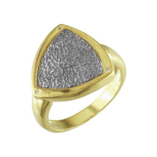 Nalini, inel placat cu aur de 18 k,model cu pilitura rodiata