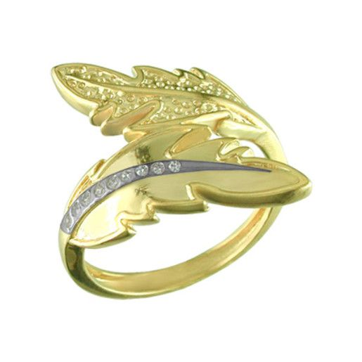 Inel placat cu aur de 18 k , model frunza bicolora , cu pietre zirconia albe, productie Brazilia