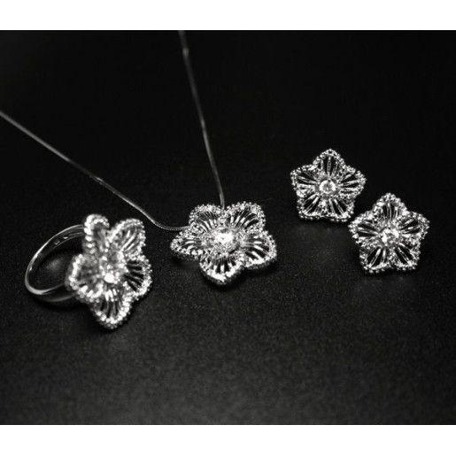Set pentru mirese, argint 925 rodiat:  cercei, lant, pandantiv, design italian cu pietre zirconia - 1712O5235