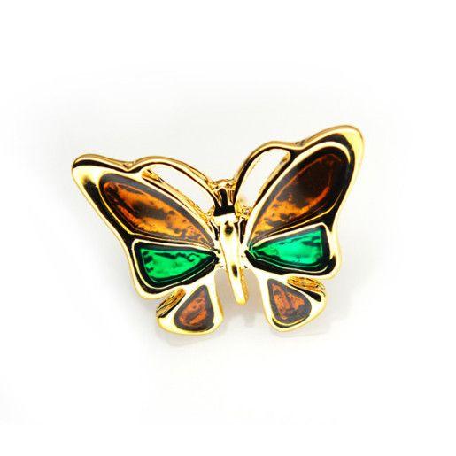 Fluturasul vesel,brosa placata cu aur de 18 k