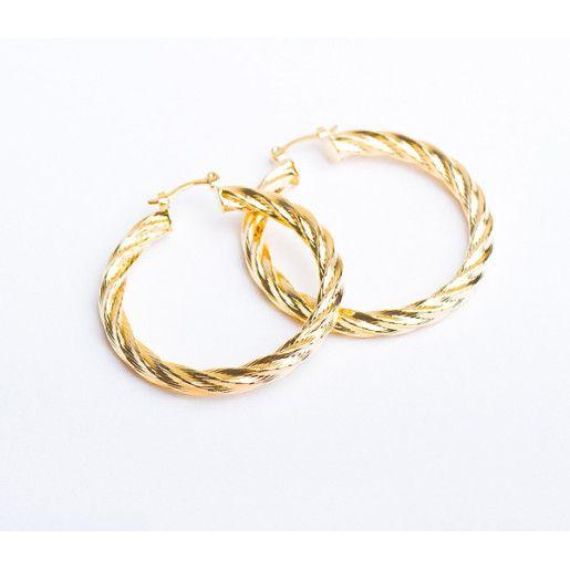 Nicky,Cercei placati cu aur de 18 K, colectia Golden Shine