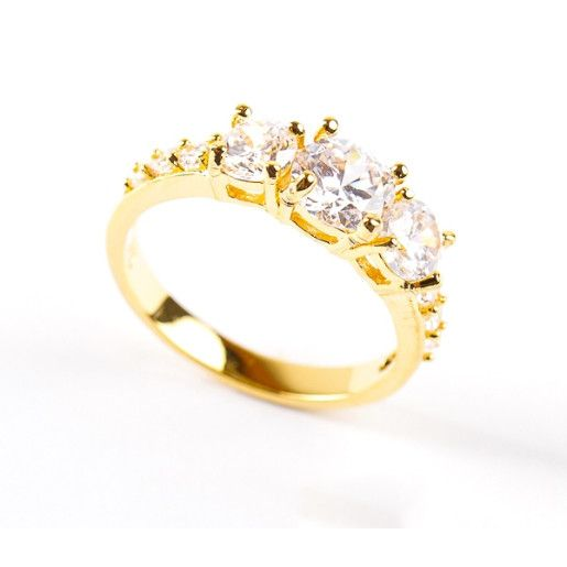 Inel placat cu aur de 18 k , model solitair, cu pietre zirconia