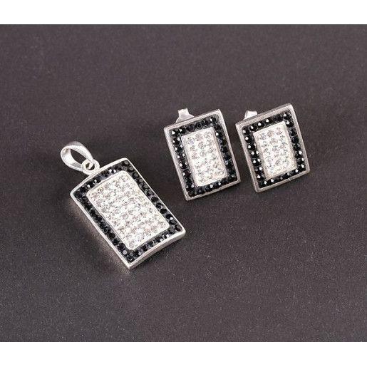 Set argint 925: cercei, pandantiv. Pietre. Culori: alb, negru, lungime pandantiv - 3120O5150