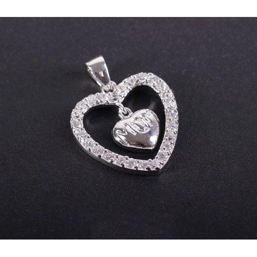 Pandantiv argint 925 rodiat. Pietre: zirconia albe - 3222O753