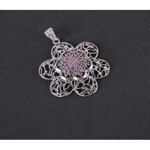 Pandantiv argint 925 rodiat, design italian. Pietre: zirconia - 3791O7100