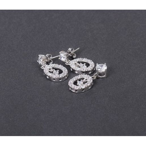 Set argint 925 rodiat design italian: cercei, pandantiv. Pietre: zirconia - 3834O577