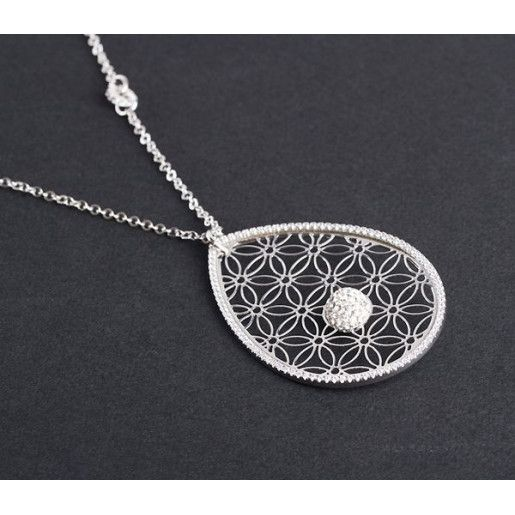 Lant cu pandantiv, argint 925 rodiat, design italian. pietre zirconia - 4207O3180