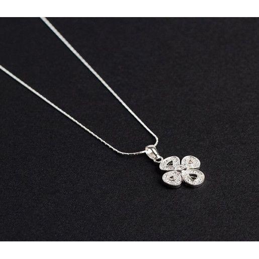 Lant cu pandantiv, argint 925 rodiat, design italia cu pietre: zirconia- 4549O318