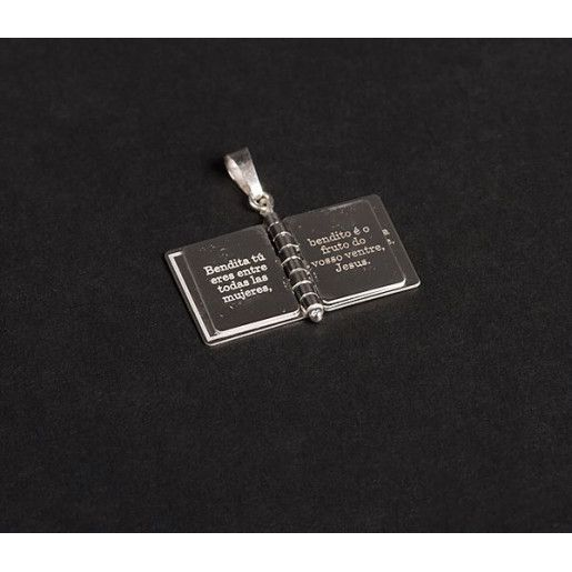 "Pandantiv, motiv carte de rugaciuni "" Ave Maria"",  argint 925 rodiat, design italian- 4858O756"