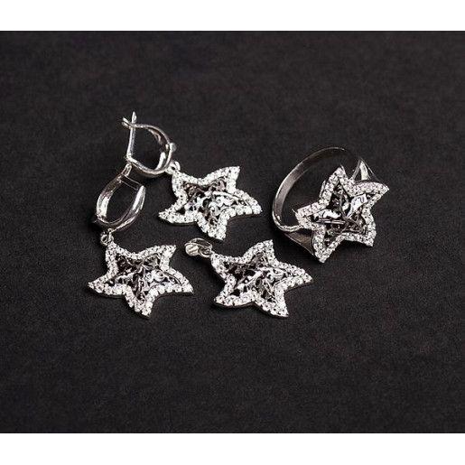 Set argint 925: rodiat, design italian: cercei, pandant, inel, cu pietre: zirconia - 5009O5115