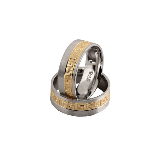 Greek style, verigheta argint 925, rodiata, partial placata cu aur de 18 k