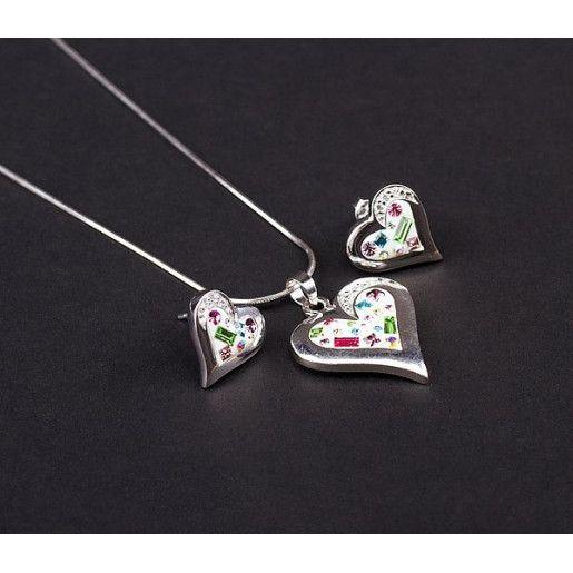 Set argint 925 rodiat, cu elemente swarovski, design italian. Culori: multicolor - 5109O5190