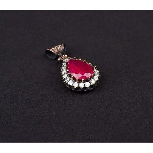 Pandantiv argint 925, oxidat, model oriental. Pietre: rubin, zirconia - 5153O7105