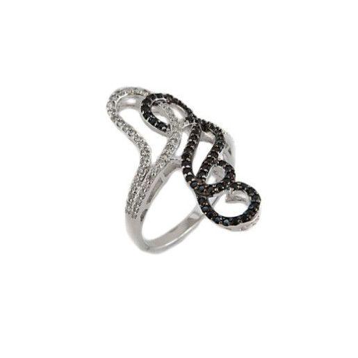 Inel argint 925 , Black & White