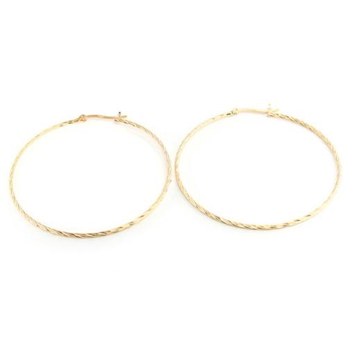 Cercei model creola, placati cu aur de 18 k , diametru 5,5 cm 602O811