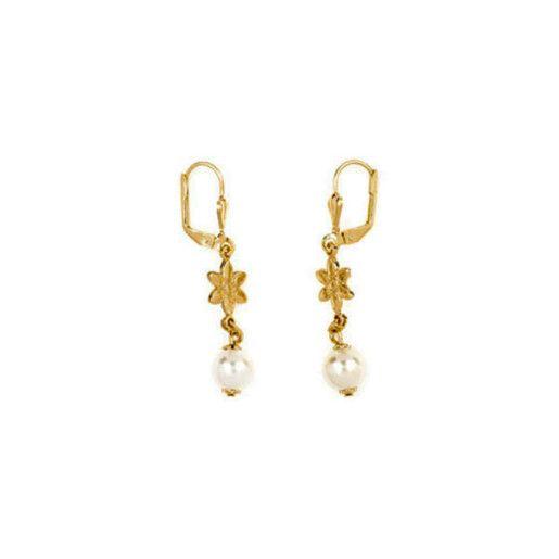 Evelyn,Cercei placati cu aur de 18 k, colectia Golden Shine, colectia Pearl