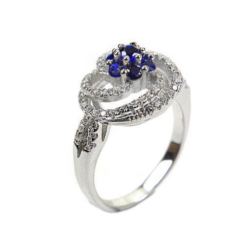 Case, inel argint 925, rodiat, blue sparkling