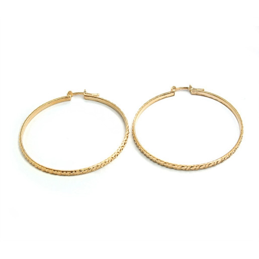 Cercei model creola, placati cu aur de 18 k , diametru 4,5 cm 618O816