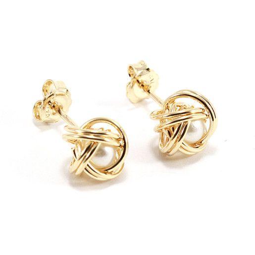 Petra,Cercei placati cu aur de 18, colectia Golden Pearl