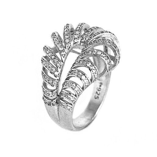 Brook, inel argint 925, rodiat, design italian