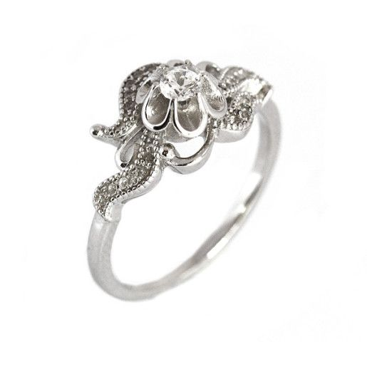 Kim, inel argint 925, rodiat , du pietricele zirconia albe