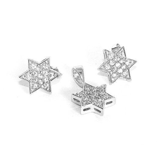 Set argint 925, rodiat, cu pietre zirconia, colectia casual