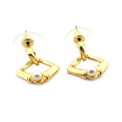 Wendy, Cercei placati cu aur de 18 k , colectia Golden Pearl