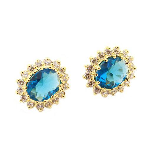 Ozana, Cercei placati cu aur de 18 k, colectia Blue Saphir