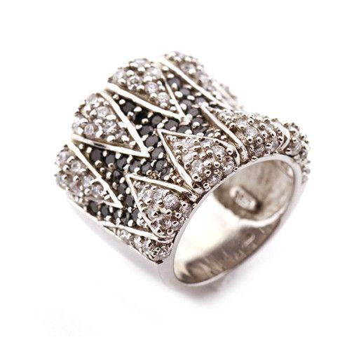 Inel argint 925, cu pietre zirconia bicolore, rodiat , poate fi cadoul ideal pentru persoana draga
