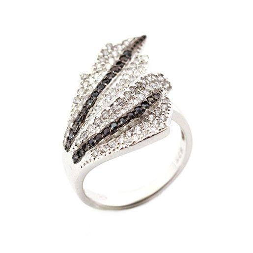 Anabela, inel argint 925, rodiat, cu pietre zirconia albe si negre