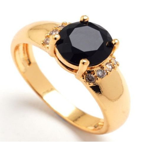 Inel placat cu aur de 18 k , colectia Solitair black