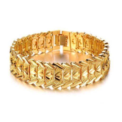 Bratara barbateasca, placata cu aur de 18k - 6540O455