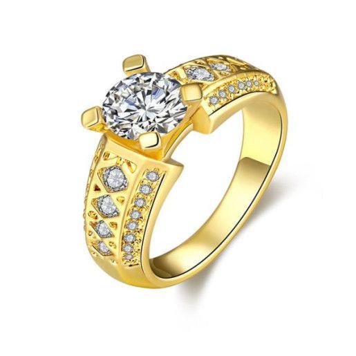 Cassie, inel placat cu aur de 18 k, cu pietre zirconia albe
