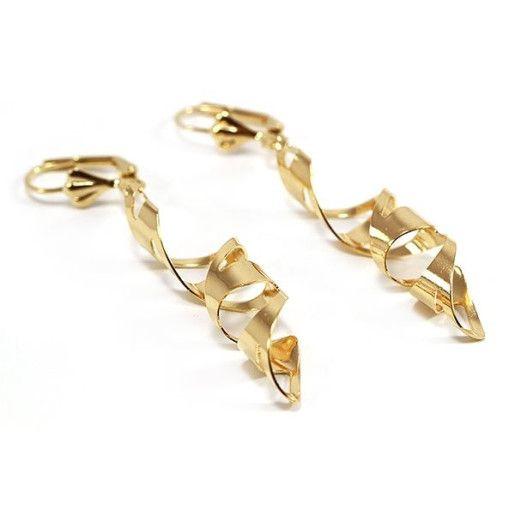 Cercei placati cu aur de 18k, 2 microni, productie Brazilia, colectia Golden Shine - 6566O816