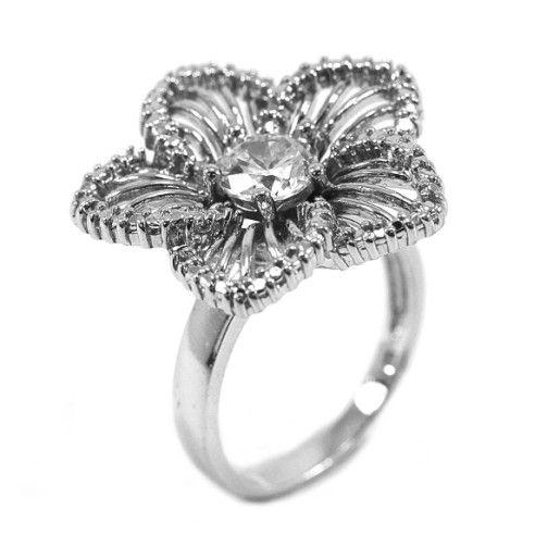 Inel argint 925, rodiat, colectia flower
