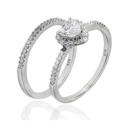 Colectia Double Solitair, inel argint 925, cu pietre zirconia albe