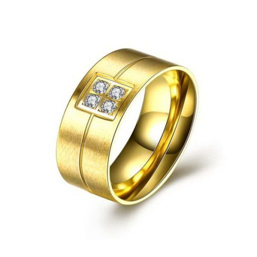 Infinity, inel pacat cu aur de 18 k, 2 microni cu pietre zirconia