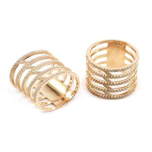 Faith , inel argint 925, rodiat cu rodiu roz, cu pietre zirconia albe