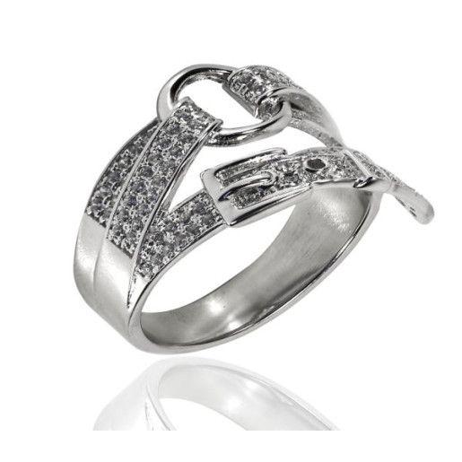 Inel argint 925, rodiat, cu pitre zirconia albe, model catarama