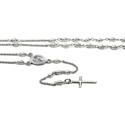 Colier argint 925, model rozariu cu perle albe, colectia onlinebijoux-6869O352