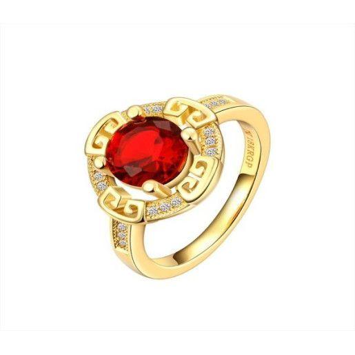 Inel placat cu aur de 18k, red stone, cu pietricele zirconia albe montura micropave