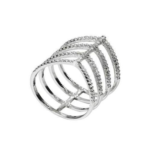 Monica, inel argint 925, rodiat, cu pietre zirconia