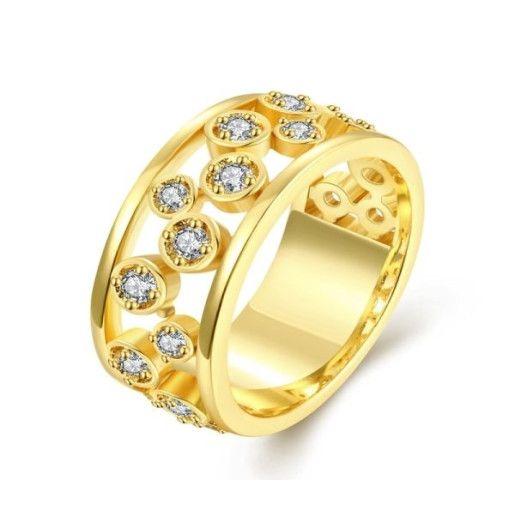 Inel placat cu aur de 18k, 2 microni, model tip verigheta cu pietre zirconia albe.- 6924O927