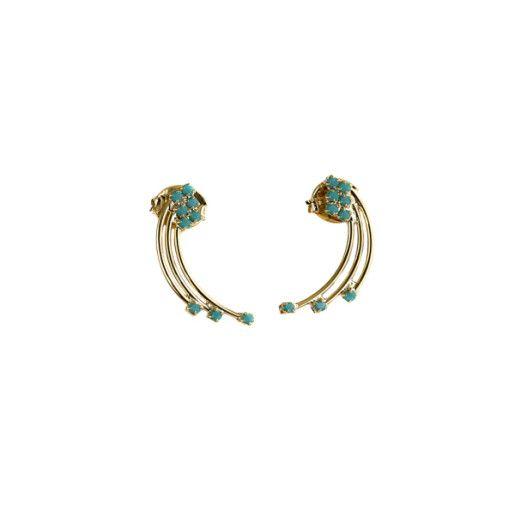 Cercei placati cu aur, colectia Golden Shine-7088O833