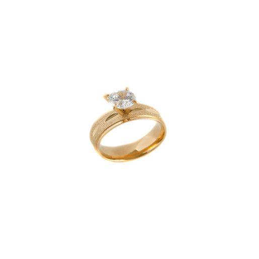 Inel solitaire , placat cu aur de 18 k , cu o piatra zirconia - 7098O918