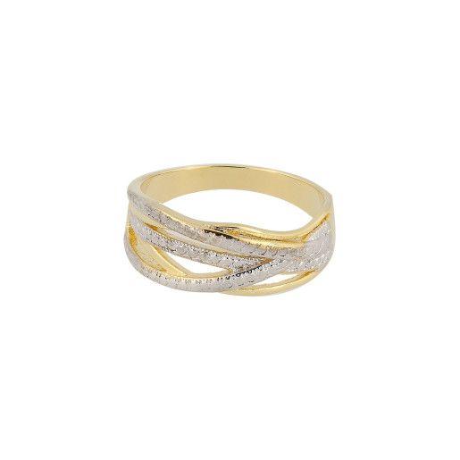 Lane, inel placat in doua tonuri , cu aur de 18 k , productie Brazilia