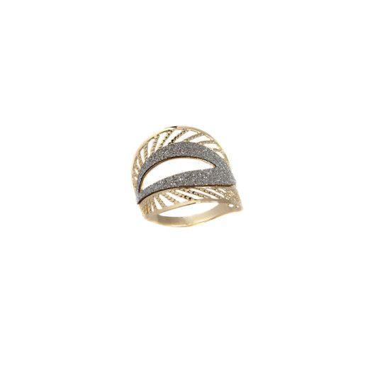 Beth, inel placat cu aur de 18 k , cu pilitura diamantata