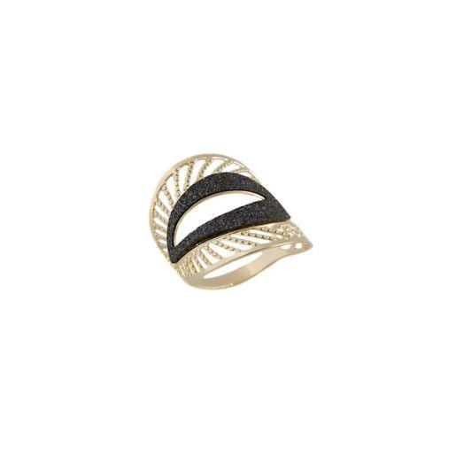 Beth, inel placat cu aur de 18 k , cu pilitura diamantata , culoare cenusiu