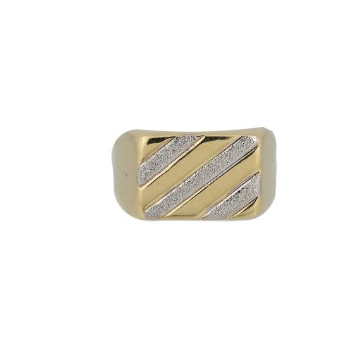 Inel , model barbatesc, placat cu aur de 18 k, bicolor